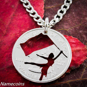Color Guard necklace, cut in Quarter, hand cut coin