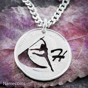 Color Guard Necklace with your custom initial, hand cut quarter