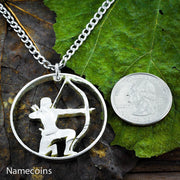 Girl Hunting Jewelry, Bow and Arrow Necklace, Hand Cut Coin Necklace