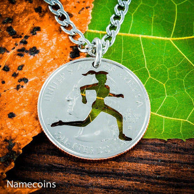 Love Running Girl necklace, Track and field woman jewelry, hand cut coin