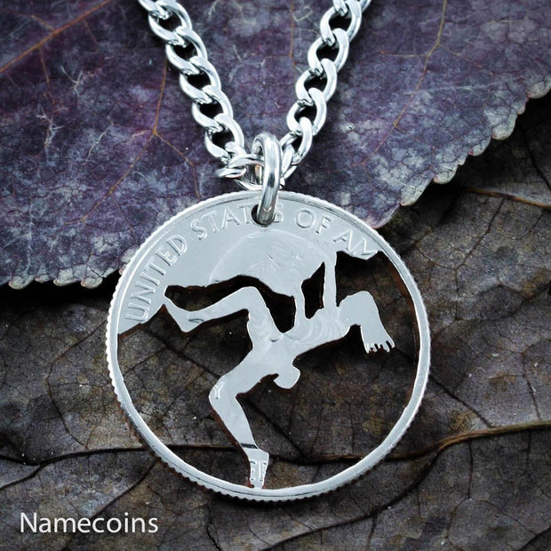 Girl Rock Climbing Necklace, Hand cut coin by Namecoins