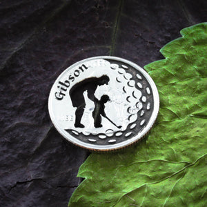 Father and Son, Custom Name Golf Ball Marker, Name Engraved, Etched Quarter