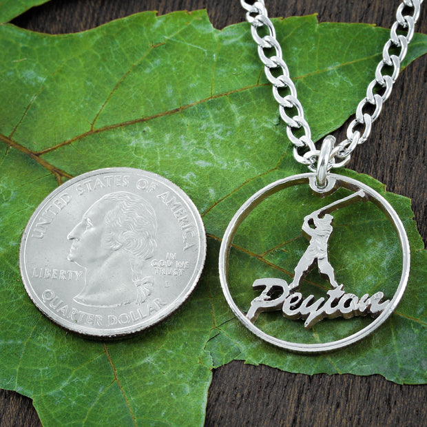 Golf Name Necklace, Golfer Gift