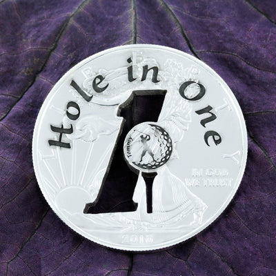 Golf Ball Marker, Hole in One, Golfer's custom name pocket token
