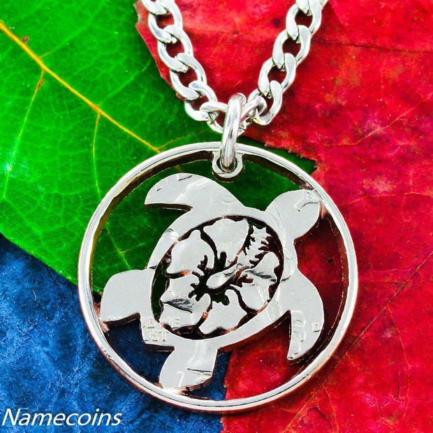Hawaiian Turtle Necklace, Hibiscus Flower jewelry, Hand Cut Quarter