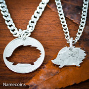 Hedgehog necklace set, best friends coin jewelry
