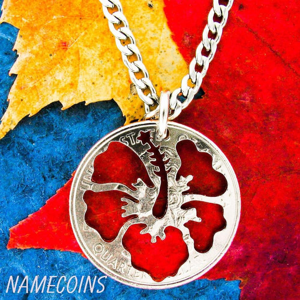 Hibiscus Flower Necklace, Hawaiian Jewelry, hand cut coin by Namecoins