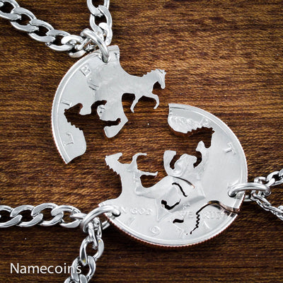 3 Best Friend Horse Necklaces, Interlocking Handcrafted cut Half Dollar