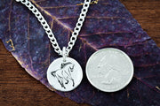 Charging Horse Engraved Necklace, Hammered Silver Charm