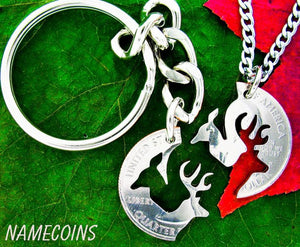 Hunting Jewelry, Deer Necklace, Buck and Doe, Interlocking Set