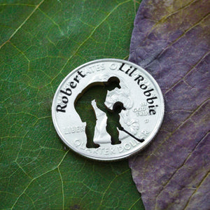 Dad and Child Golf Ball Marker, Custom Names Engraved