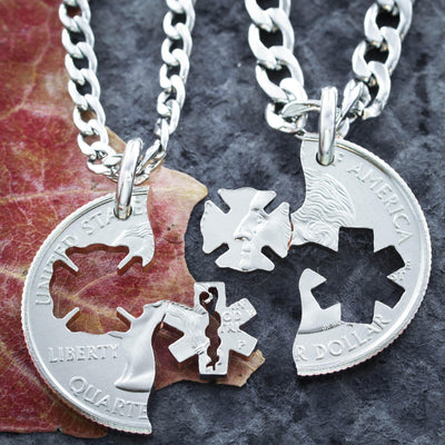 Firefighter and Emt Couples Necklaces Hand Cut Coin
