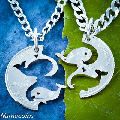 Whale Necklaces for Best Friends and Couples