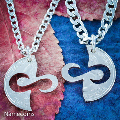 Infinity Necklaces, Couples Jewelry, Special Quarter, hand cut coin