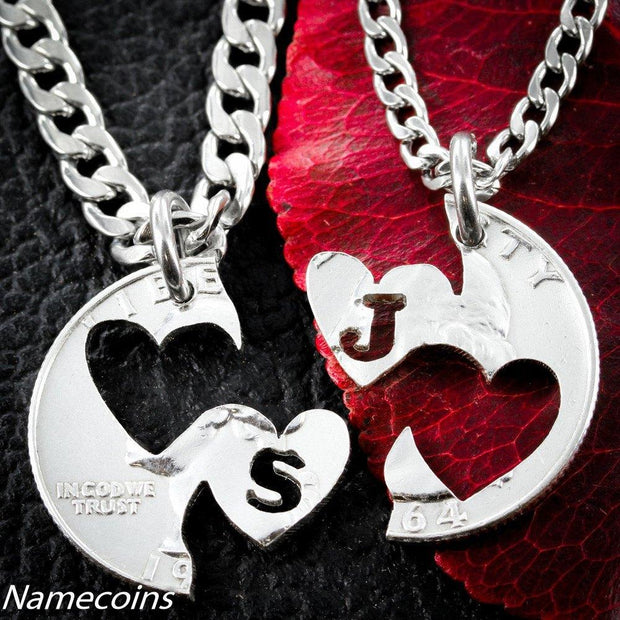 Initial Heart Necklace, I carry your Heart jewelry, interlocking relationship set, hand cut coin