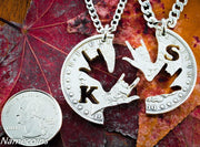 Initial Necklace, Sign Language Jewelry, Cut Coin ASL I love you, Deaf, Interlocking Puzzle Quarter
