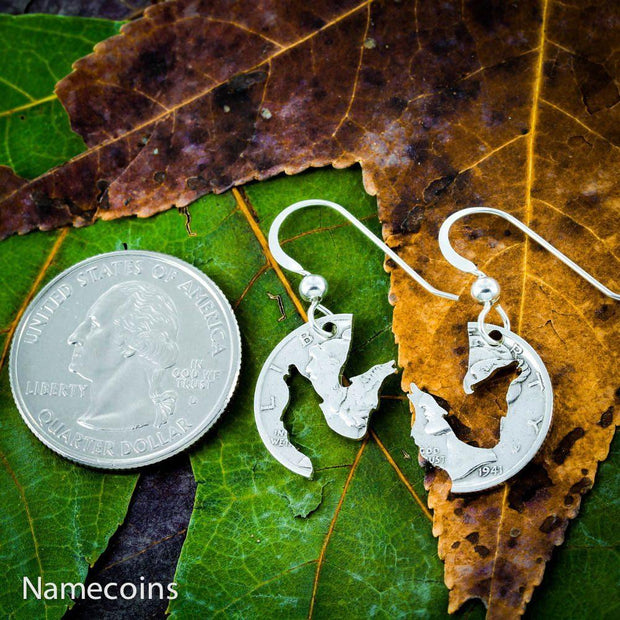 Interlocking Wolf Silver Earrings