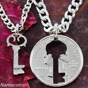 Key necklace, Couples jewelry Quarter, relationship hand cut coin