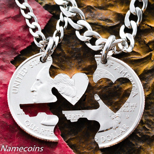 6efdd6f683 Key to my Heart necklace, Couples Jewelry, Interlocking love quarter, hand  cut coin