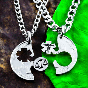 Scales of Justice and Medical Symbol Necklaces, Med Law Student Gift