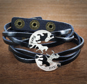 Best Friends Horse Leather Bracelets, Custom names engraved, Woven and Braided