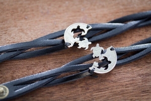 Best Friends Leather Turtle Bracelets, Woven and Braided Relationship Bracelets
