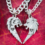 Lion and Tiger Couples Necklaces , Custom initials Engraved in Hearts