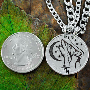Howling Tribal Wolf with Moon Interlocking necklaces
