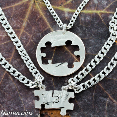 3 Best Friend or Family Necklace, Coin Puzzle Pieces