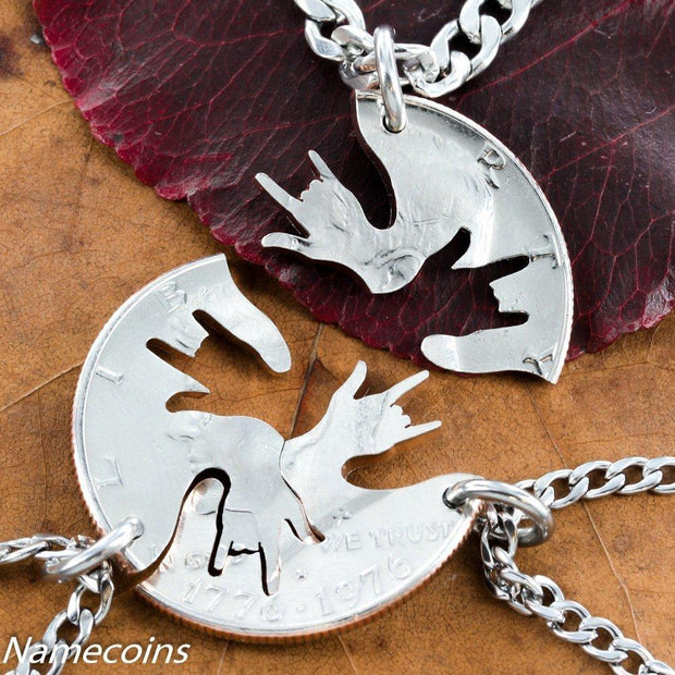3 Best friends interlocking ASL I Love You Hands half dollar necklaces