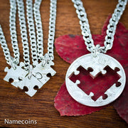 4 Puzzle Pieces Best Friends Heart Necklaces, Friendships or Family Jewelry by Namecoins