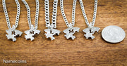 5 Puzzle Piece Best Friends or Family Necklaces, Hand cut Coin