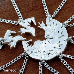 8 Silver Love Necklaces, Family Puzzle Necklaces By Namecoins