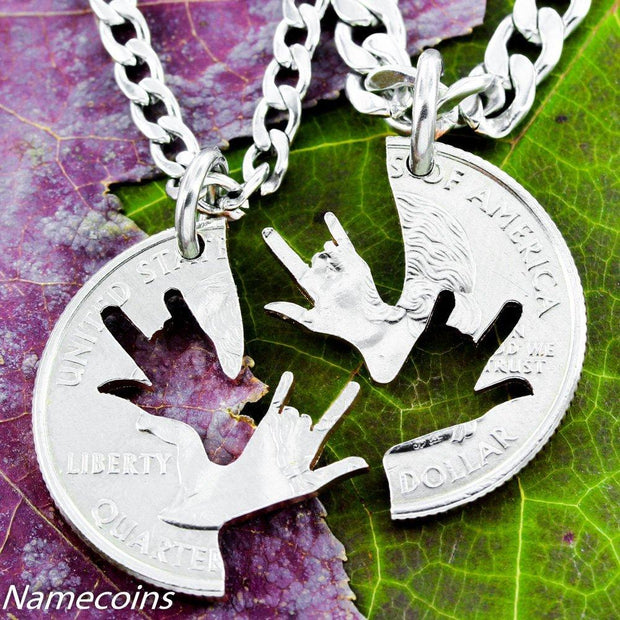 ASL I Love you sign, Best Friends Necklaces by Namecoins