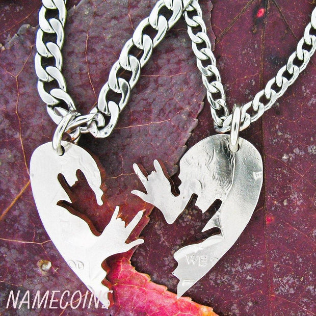 Couples heart jewelry, ASL love hands, half dollar by NameCoins