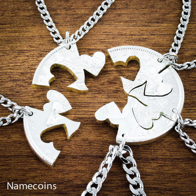 Our Hearts Together, 5 Piece Friends and Family Necklace, hand cut coin