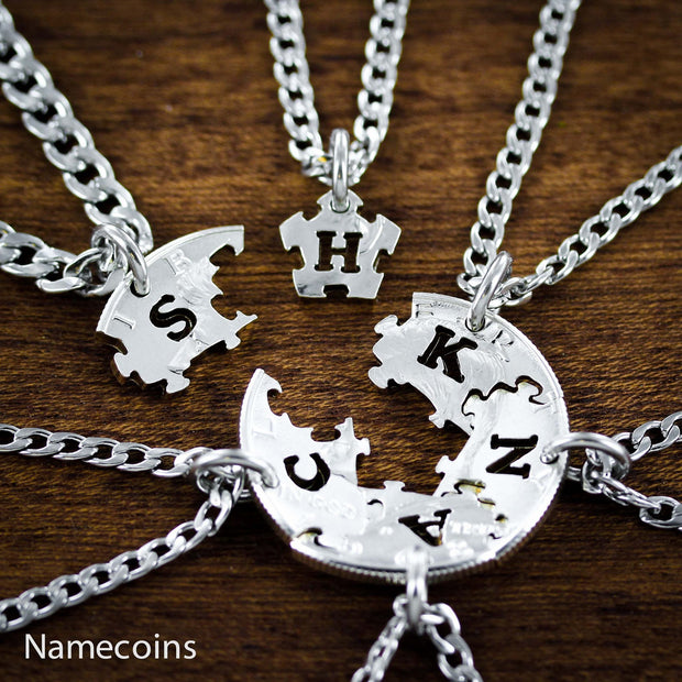 Puzzle Piece Family Necklaces, 6 Piece, Hand cut Half dollar