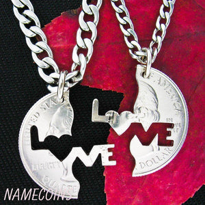 Love Me Necklace, Interlocking Quarter, hand cut coin by Namecoins