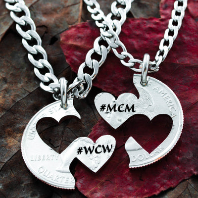 MCM and WCM Heart Necklaces, Hand Cut and Custom Engraved