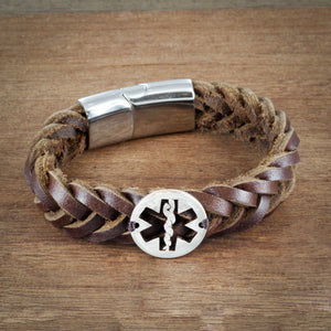 Star of Life Leather Bracelet, Nurse or Doctor Bracelet, Medical Symbol