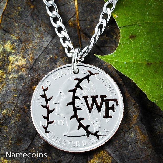 Baseball Necklace, Custom Initials on your coin necklace