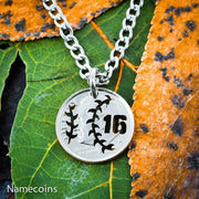 Baseball Necklace, Jersey Number Jewelry, Hand Cut Coin
