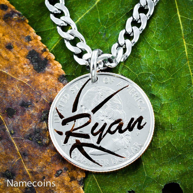 Basketball Name Necklace, Cut Coin, Quarter, Sports Jewelry