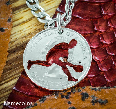 Boys Baseball Outfielder Necklace, Summer Baseball hand cut coin Jewelry