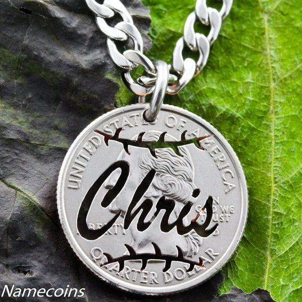 Custom Name Baseball Necklace, On a Quarter, hand cut coin