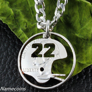 Football Helmet Necklace with custom Jersey numbers, hand cut quarter