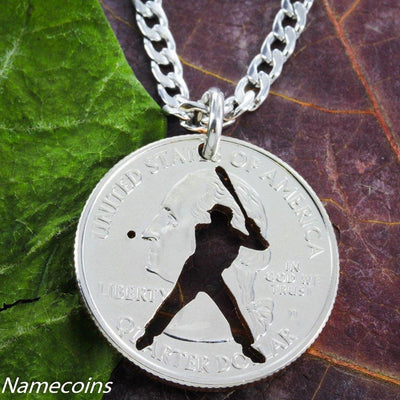 Major League Baseball Batter Necklace, hand cut coin Jewelry