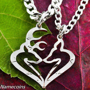 Mens Jewelry Buck and Doe Heart Hunters Kissing Necklace Set by Namecoins