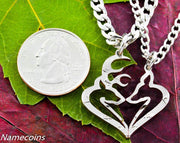 Mens Jewelry Buck and Doe Heart Hunters Kissing Necklace Set, Half Dollar, hand cut coin