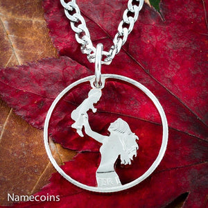 Mom Holding Baby Necklace, Newborn hand cut coin